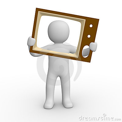 3d man with the TV screen