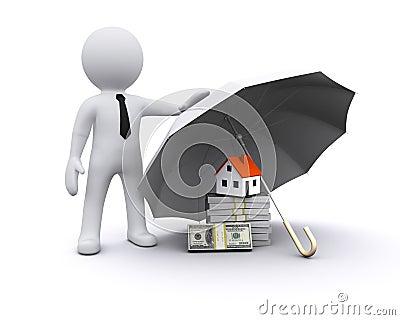 3D man with umbrella
