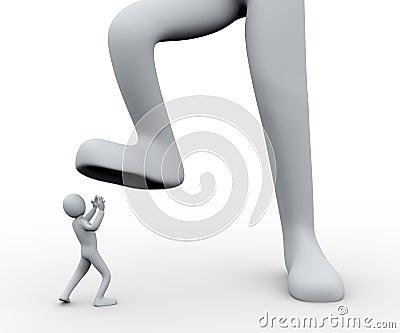 3d man under foot