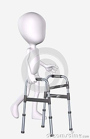 3D Man Using a Walker