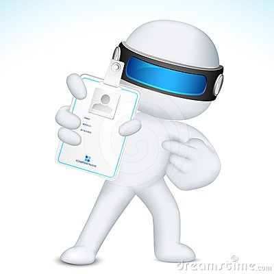 3d Man in Vector showing Identity Card