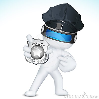 3d Man in Vector showing Police Badge
