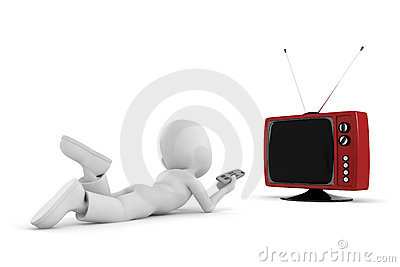 3d man watching tv and having good time