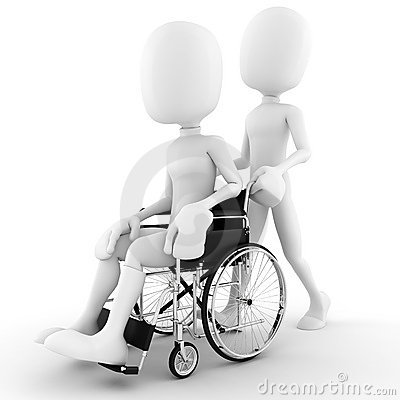 3d man in a wheelchair, isolated on white