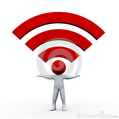 3d man and wifi icon