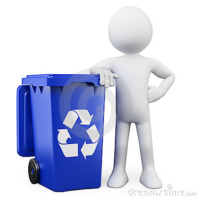 Free 3D Man With A Blue Bin Royalty Free Stock Photo - 22371955