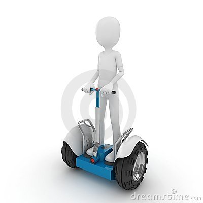 Free 3d Man With Electric Scooter Stock Photo - 17037630