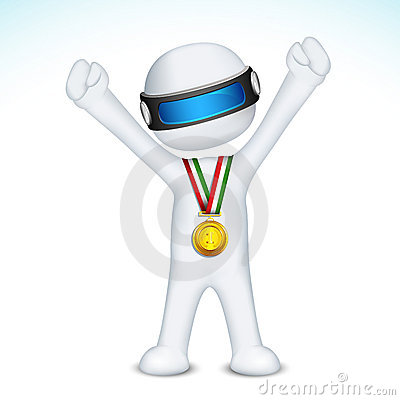 Free 3d Man With Gold Medal In Vector Royalty Free Stock Image - 23003666