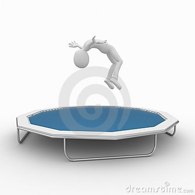 Free 3d Man With Trampoline Stock Photography - 15800942