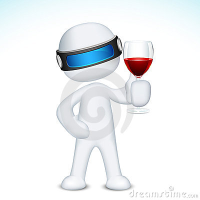 Free 3d Man With Wine Glass Royalty Free Stock Photos - 22903108