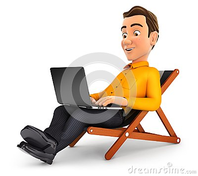 Free 3d Man Working On Vacation Royalty Free Stock Photos - 119567038