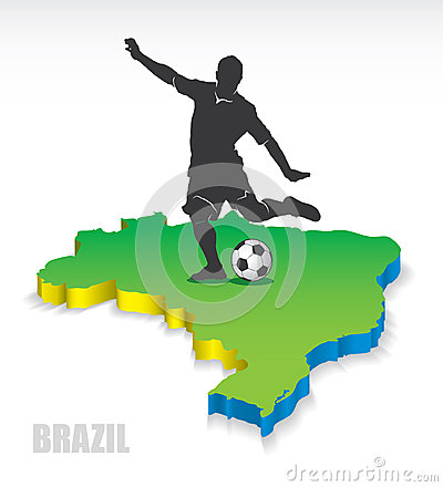 3D map of Brazil with soccer player
