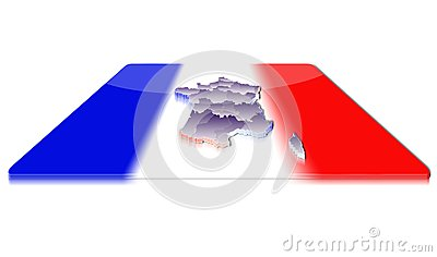3D map of France on a 3d flag