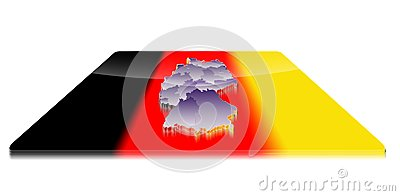 3D map of Germany on a 3d flag