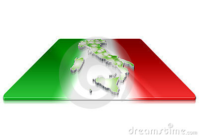 3D map of  Italy on a 3d flag