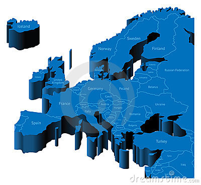 Free 3d Map Of Europe Royalty Free Stock Photography - 13462507
