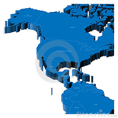 3d map of United States and Central America