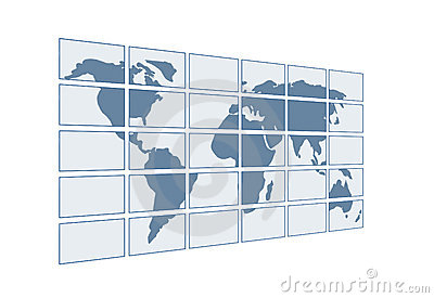 3d map of the world on transparent screens