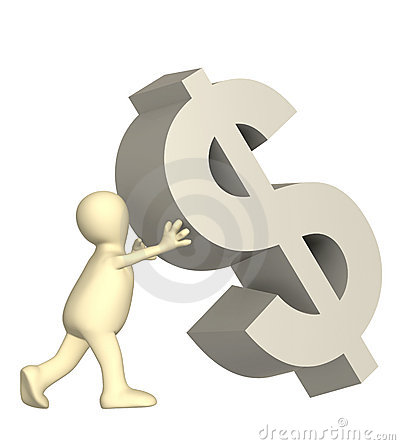 3d marionet, ondersteunend dalend symbool van dollar