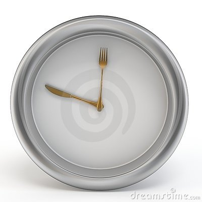 3d meal time clock with knife and fork