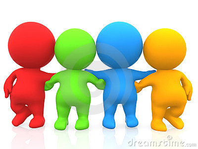 3D men - Colored group of friends