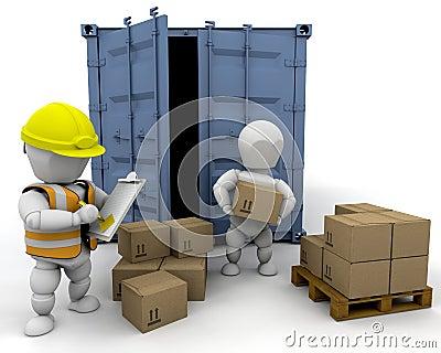 3D men handling materials