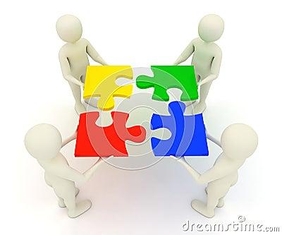3d men holding assembled jigsaw puzzle pieces