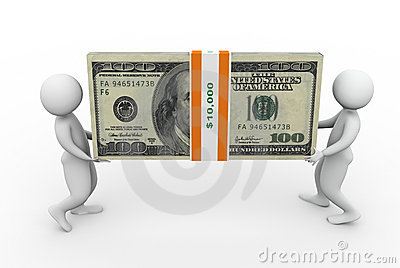 3d men holding dollar pack