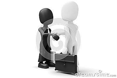 3d men shaking hands