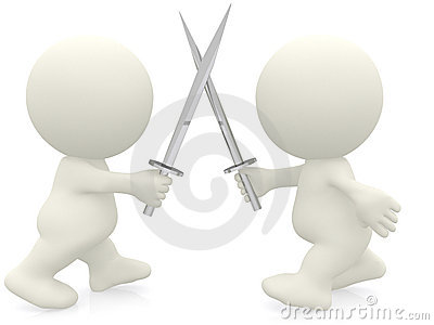 3D men with swords
