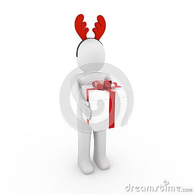 3d menselijke rood van rendierhoornen