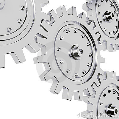 3d metal gear wheel render on white background
