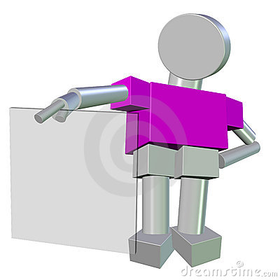 3D of a Metallic Humanoid holding a Blank Glass