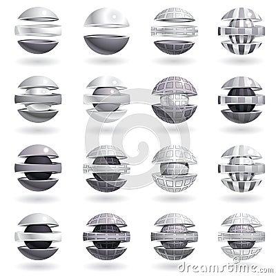 3d metallic sphere icons set.