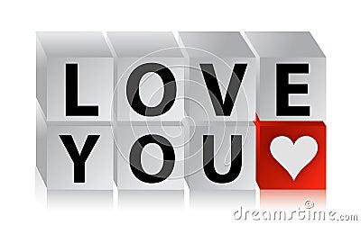 3D miłości guzika sześcian