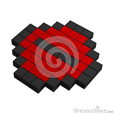 3d minus pixel icon