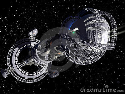 3D model of futuristic space ship