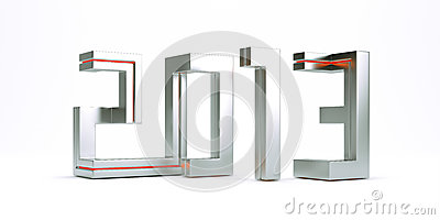 3d model new year 2013 made of metal square lines