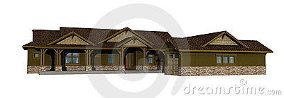 3d model of one level ranch