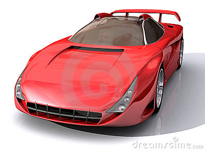3D Model of red sports car