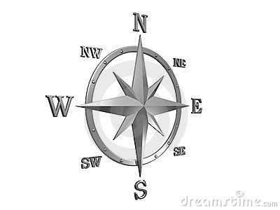 3d model of silver compass with clipping path