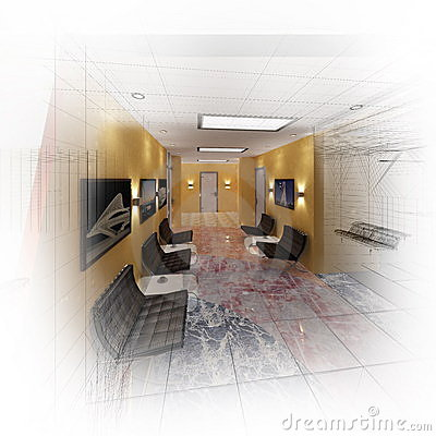 3d modern hall office
