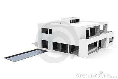 3d modern house isolated on white