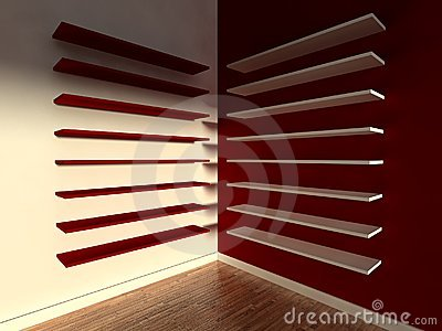 3d modern indoor, empty shelf