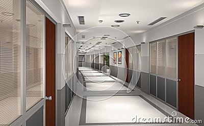 3D modern office hallway