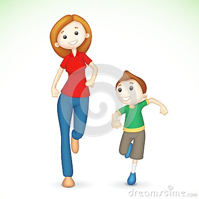 3d Mother and Son Running