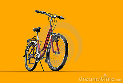 3D mountain bike on orange background