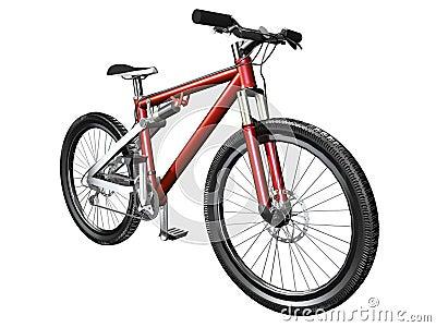3D mountain bike on white front