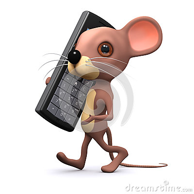 Free 3d Mouse On Mobile Phone Stock Photography - 41085452