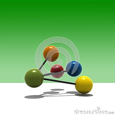Free 3d Multicolor Molecule Royalty Free Stock Photography - 3188607